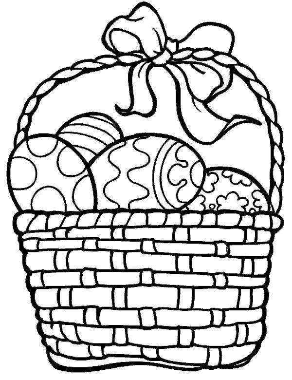 Koszyk Wielkanocny I Pisanki Kolorowanka Do Druku