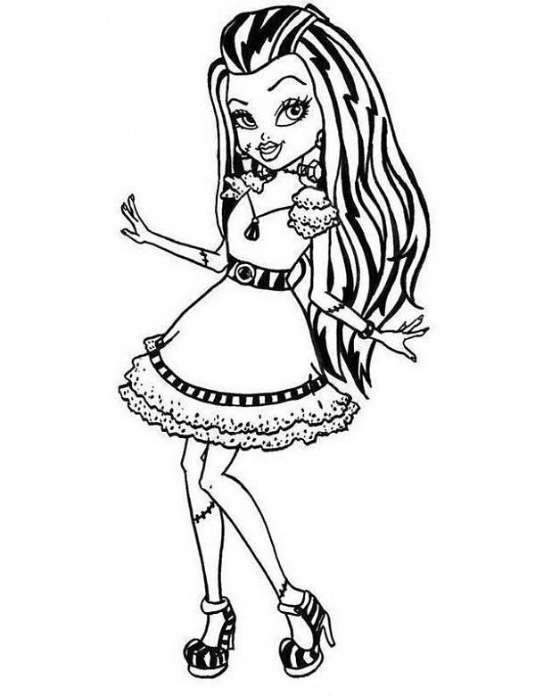Kolorowanki do druku z lalkami Monster High Frankie Stein