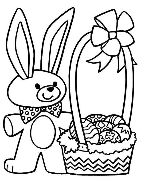 Zając Wielkanocny Z Koszykiem Kolorowanka Malowanka