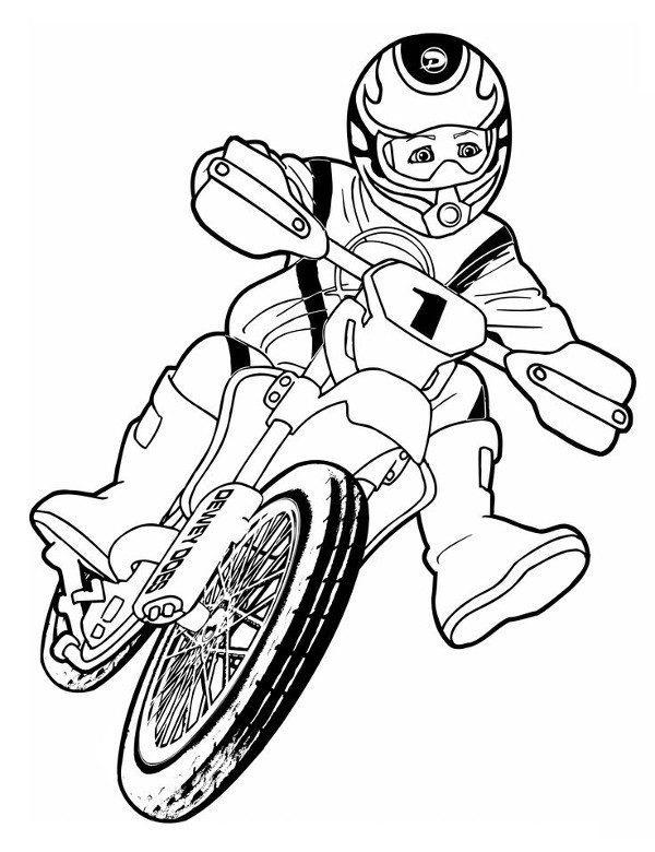 kolorowanka do druku z motocyklist u0105