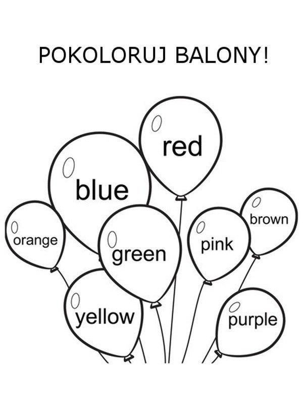 Kolory po angielsku kolorowanki dla dzieci