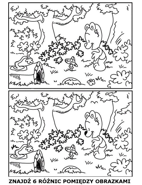 Kolorowanki z różnicami do znalezienia