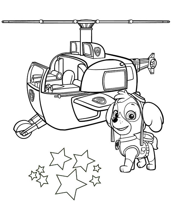 Skye I Helikopter Kolorowanka Do Wydruku