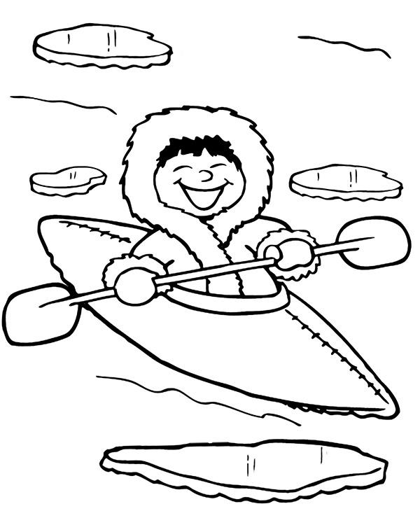 Mały Eskimos Kolorowanki Zimowe Dla Dzieci