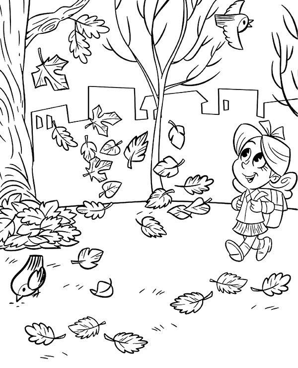 Dziewczynka Na Spacerze Jesienny Obrazek Do Druku