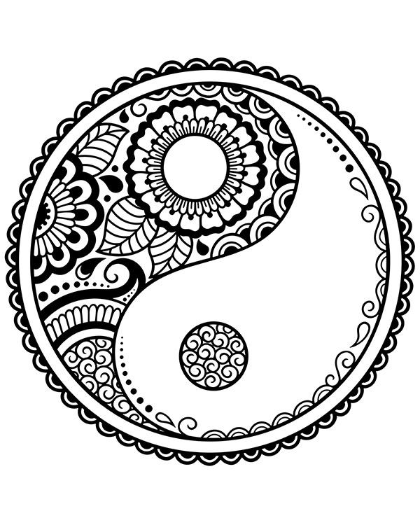 Kolorowanka relaksacyjna z symbolem jing jang