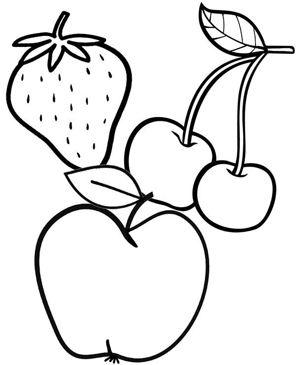 Jablko Wisnie I Truskawka Kolorowanka Malowanka