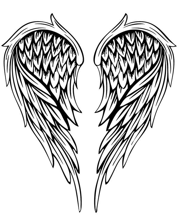 Wzór Tatuażu Ze Skrzydłami Anioła Na Kolorowance Do Wydruku