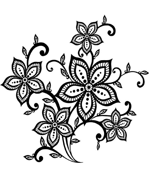 Wzór Tatuażu Z Kwiatami Darmowa Kolorowanka Relaksacyjna