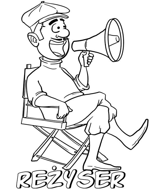 Reżyser filmowy śmieszna kolorowanka do druku