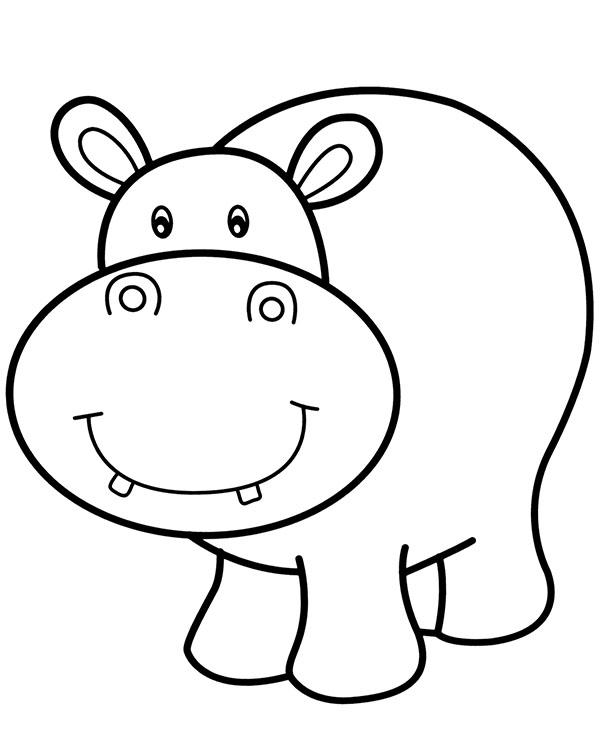 Malowanka Hipopotam Latwa Kolorowanka Dla Malego Dziecka