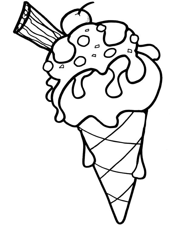 Lód rożek w wafelku kolorowanka do druku