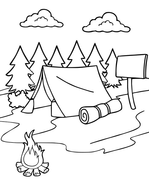 Namiot I Ognisko W Lesie Nowa Kolorowanka Na Lato