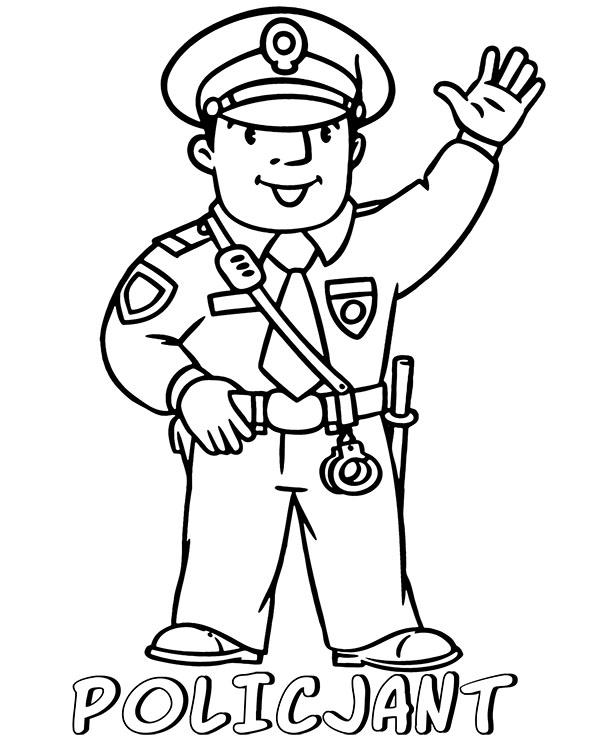 Kolorowanki Zawody Policjant Latwa Malowanka