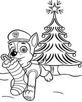 Chase świąteczna kolorowanka Psi Patrol dla dzieci