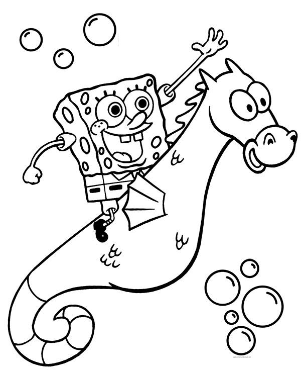 Kolorowanka Ze Spongebobem Jadacym Na Koniku Morskim