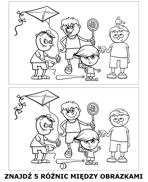 Różnice między obrazkami edukacyjna kolorowanka dla dziecka