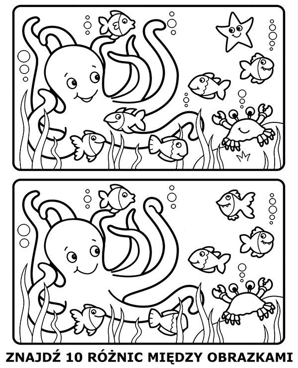 Kolorowanka podwodny świat szukanie różnic
