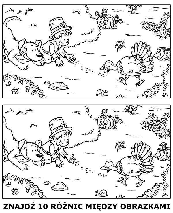 Znajdź różnice ilustracja do wydrukowania
