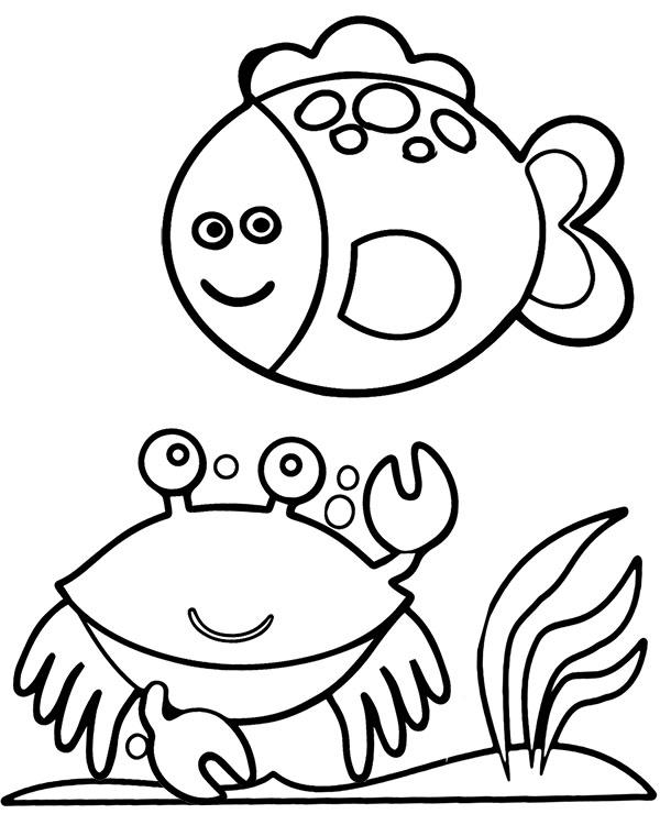 Krab I Ryba Latwe Kolorowanki Do Wydruku