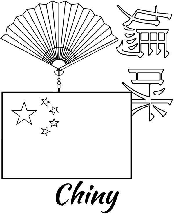 Symbole Chin Kolorowanka Flaga Chiny Malowanka