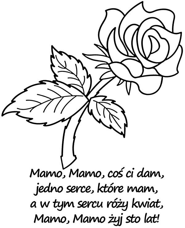 Kwiat Roza I Wierszyk Na Dzien Mamy Kolorowanka Malowanka
