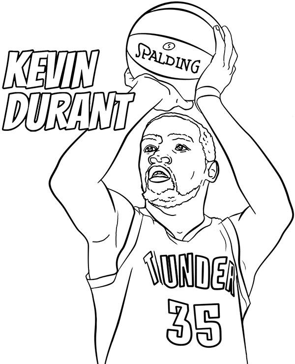 Koszykarz Z Nba Kolorowanka Kevin Durant Malowanki Sportowcy