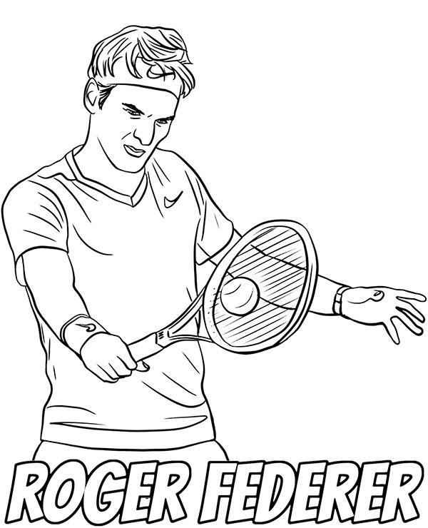 Tenisista Roger Federer Kolorowanka Do Wydruku Atp Malowanka
