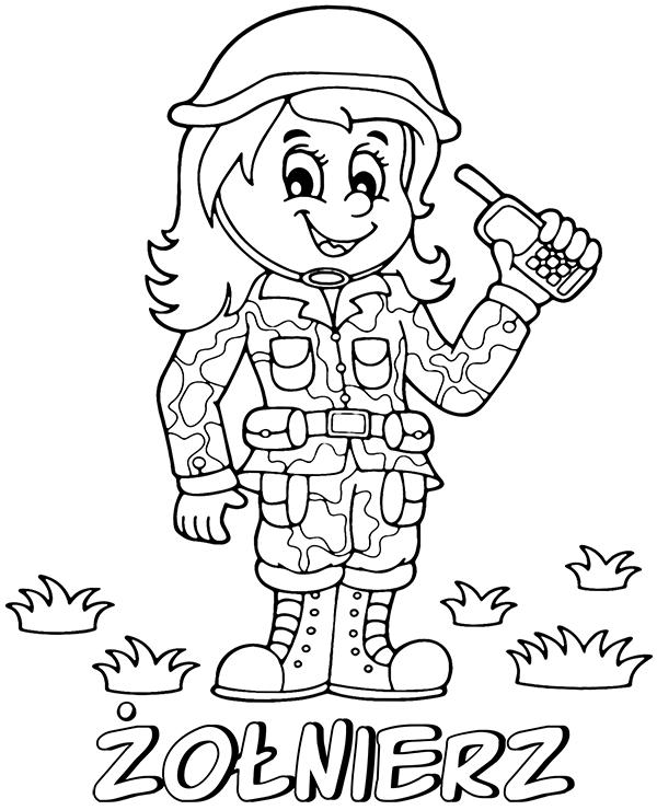 Darmowa kolorowanka kobieta żołnierz