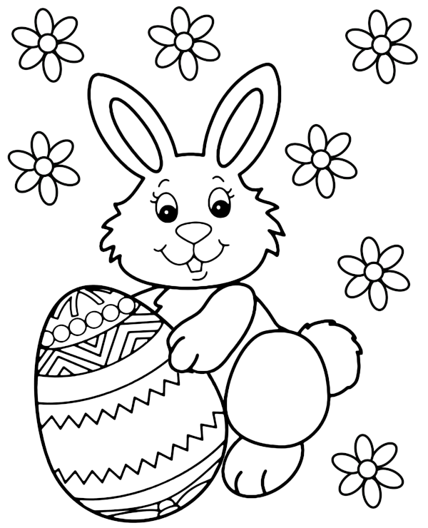 Darmowa ilustracja do kolorowania z zajączkiem wielkanocnym